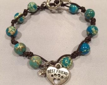 "Custom Woven ""Best Friend "" Beaded Charm Bracelet"