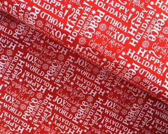 Red and White Christmas Cotton Fabric from AE Nathan