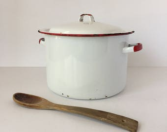 Large Enamel Stockpot with Lid, Vintage Red and White Enamelware, Chippy Pots and Pans, Farmhouse Cookware, Enamel Dutch Oven