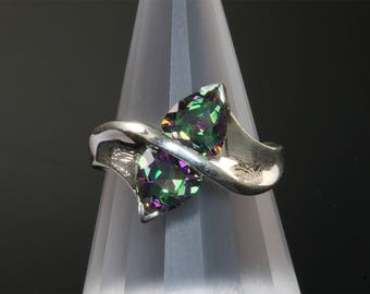 Sterling Silver Ring with Trillion Cut Mystic Topazes by Cavallo Fine Jewelry