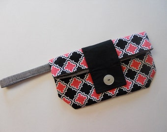 Hot Pink and Black Chic Foldover Wristlet Clutch SALE