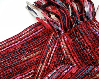 red and black ribbon handwoven scarf