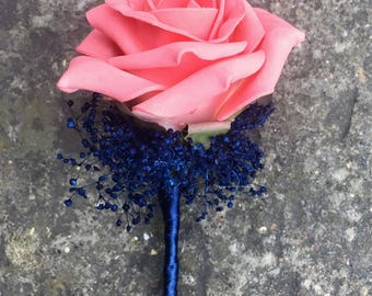 Artificial Navy Blue and Coral Wedding Buttonhole/Boutonniere