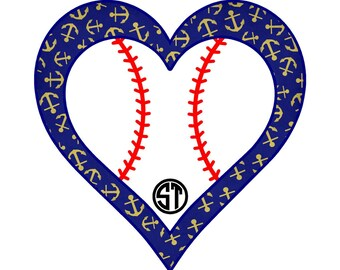Baseball Heart Applique Embroidery Design READY TO SEW