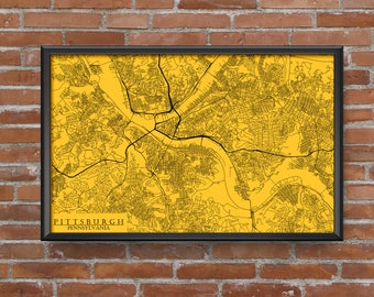 Pittsburgh, Pennsylvania Map Art (Pittsburgh Pirates)
