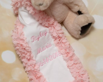Baby Girl Embroidered White Burp Cloth Baby Girl Personalized Burp Cloth with Chiffon Trim