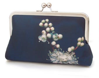 Meadowsweet white blossom clutch bag, flower purse, printed silk handbag