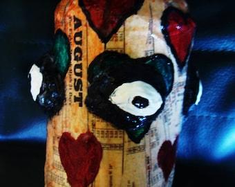 Evil Eye Heart Chakra Protection Stash /Altar Jar Papier Mache