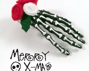 Jack Skellington Hair Clips // Gothic Lolita // Nightmare Before Christmas // Skull Hair Clip // Goth Christmas  // Goth Xmas Skelly Hands