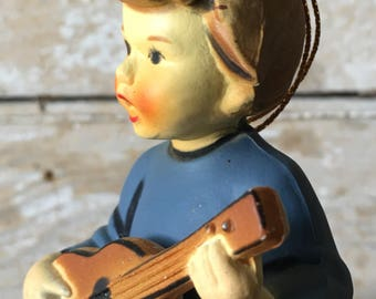 Vintage Christmas Ornament Sweet Little Girl With Guitar