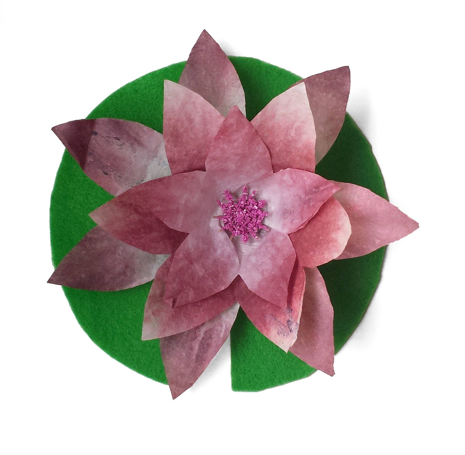 Paper water lily with felt lily pad mauve flower hand dyed zoom izmirmasajfo Images