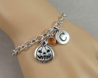 Jack O' Lantern Charm Bracelet, Pumpkin Halloween Bracelet, Initial and Birthstone Bracelet, Silver Plated Link Charm Bracelet