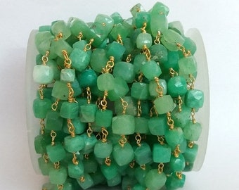 50% OFF 3 Feet Natural Chrysoprase Cube Beaded Chain - Chrysoprase Box Wire Wrapped Chain - 24k Gold Plated Rosary Beaded Chain