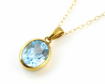 9ct Gold Topaz Pendant and Chain, Vintage Topaz Pendant