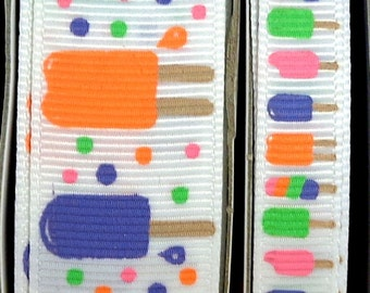 "2 Yards 3/8"" or 7/8"" Summer Popsicle Treats Print Grosgrain Ribbon - US Designer"