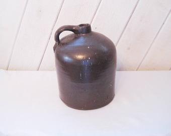 brown Crock Jug, old brown jug, primitive, farmhouse decor