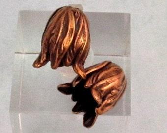 Flower Bead Cap, Small, Antique Copper, 2 Pc. AC161