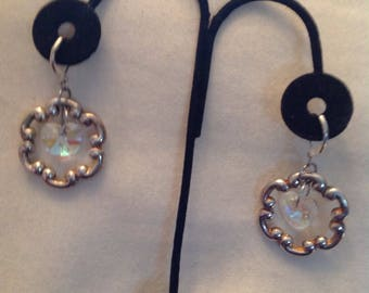 Silver tone and heart earrings