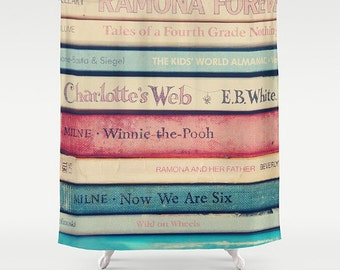 Childhood Memories Shower Curtain- book lover's gift-blue-beige-pink-typography-words-vintage books