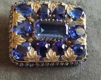 Vintage Art Deco Signed Czech.Cobalt blue Crystal pin