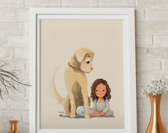 Labrador dog and Girl, a true and fun friendship Illustration Giclee print