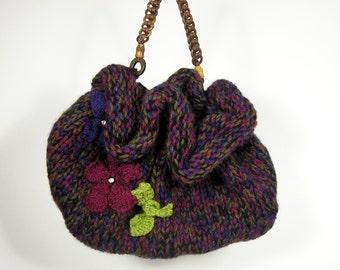FREE SHIPPING/Sale Handknit Burgundy Handbag Burgundy Handbags Knit Purses Knit Handbags Maroon Handbag Knitted Floral Handbags Original Bag