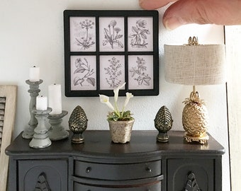 Miniature framed wall art - vintage botanical - Dollhouse - Diorama - Roombox - 1:12 scale