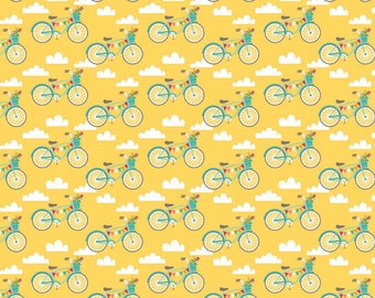 "Fancy Bikes fabric in Yellow by Riley Blake - 24"" piece"