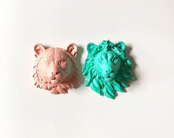 Set of 2 Small Animal Head wall mounts Faux Taxidermy wall decor kids wall decor party favors kids party decor office wall decor mini animal