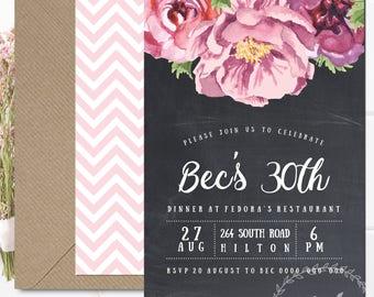 Peony Invitation / Adult Birthday Invitation / Chalkboard White Pink Floral Printable Invitation / Engagement  / Baby Shower Invitation