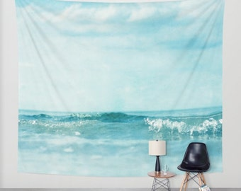Ocean Tapestry. Home Decor. Large Size Wall Art. tapestry, dreamy tapestry mint decor abstract nursery decor mint sea blue