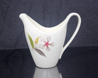 Vintage MCM creamer, ceramic, elegant shape and lines, ivory with graphic