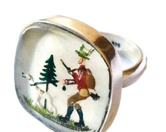 Vintage Sterling Silver Ring Reverse Painted Glass Hunting Scene