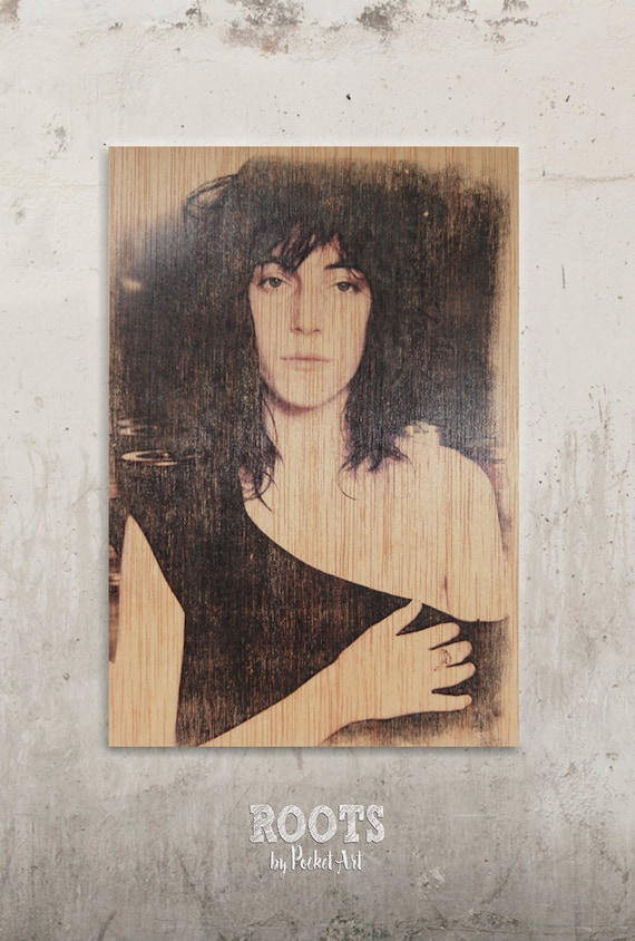 patti smith transfert sur bois d coration vintage. Black Bedroom Furniture Sets. Home Design Ideas