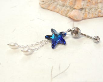 Crystal Starfish and Pearl Belly Button Ring, Belly Button Jewelry, Pearl Dangle Belly Ring, Starfish Belly Ring