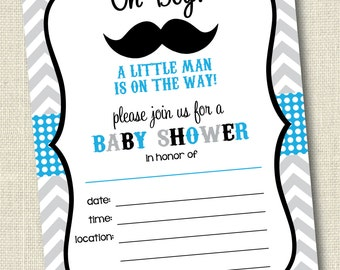 Printable Little Man Mustache Baby Shower Invitations Blue & Grey . Instant Download Baby Shower Invitation