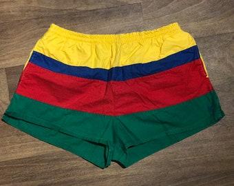 Vintage POLO by RALPH LAUREN Men's Swimming Trunks / Red Yellow Green Blue Stripes / Colorblock Swim Shorts / Trendy Men's Summer Fashion