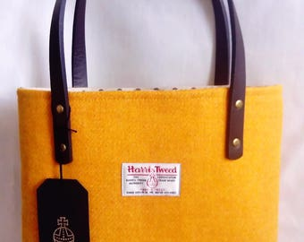 Harris Tweed Hand Made Firm Hand Bag in Mustard with Spotty Linen Lining, Internal Zip Pocket, Magnetic Snap & PU Handles