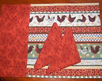 Rooster Placemats and Napkins Set