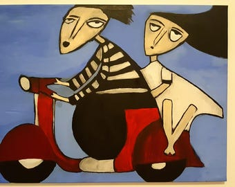 """Original Acrylic Painting On Canvas By K. Majkowska - """"Travelling in Indonesia"""""""