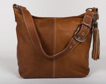 Handbag Classic /full grain leather/ size large/  cognac brown