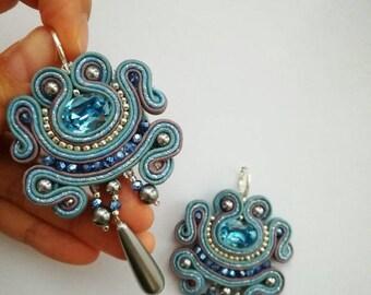 Sale! Amazing soutache swarovski earrings