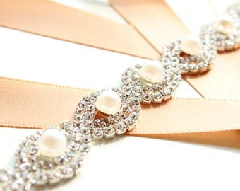 Bridesmaid Sash Crystal  Bridal Sash Belt Pearl Rhinestone Beaded Bridal Belt Sash Pearl Wedding Sash Belt