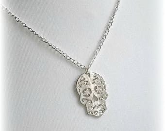 Gothic necklace, sugar skull necklace, gothic jewelley, skull necklace, silver necklace, gift for her, sterling silver necklace.