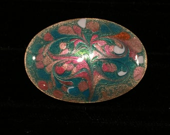 Copper Hand Painted Enameled Pin - Signed Inga - CA 1970's - Pin147