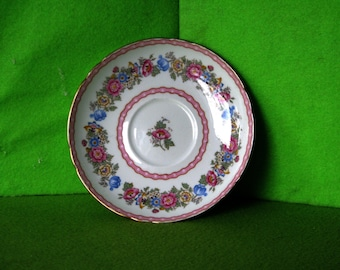 Vintage Shelley China Saucer in the Pompadour Pattern, Made by Shelley Co in England, 1938 to 1966