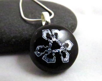 Silver Snowflake Pendant - One of a Kind Pendant -  Modern Fused Glass - Ready to Ship