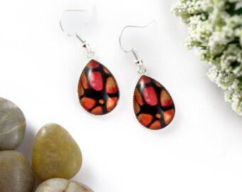 Orange Earrings - Teardrop Glass Earrings - Stained-Glass Earrings - Silver Earrings - Art Nouveau - Tangerine Orange Earrings - Mosaic