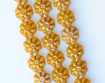 9mm Flower Beads with Gold Inlay - Czech Glass Beads - Glass Flower Beads - Various Colors - Qty 24
