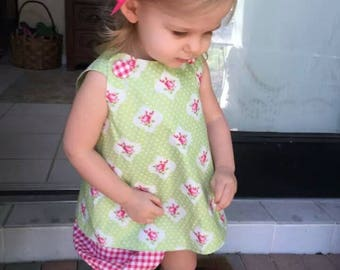 Cross-Back Pinafore Top ONLY for baby or toddler - 6 mos to 6 yrs - vintage pattern - choose your own fabric